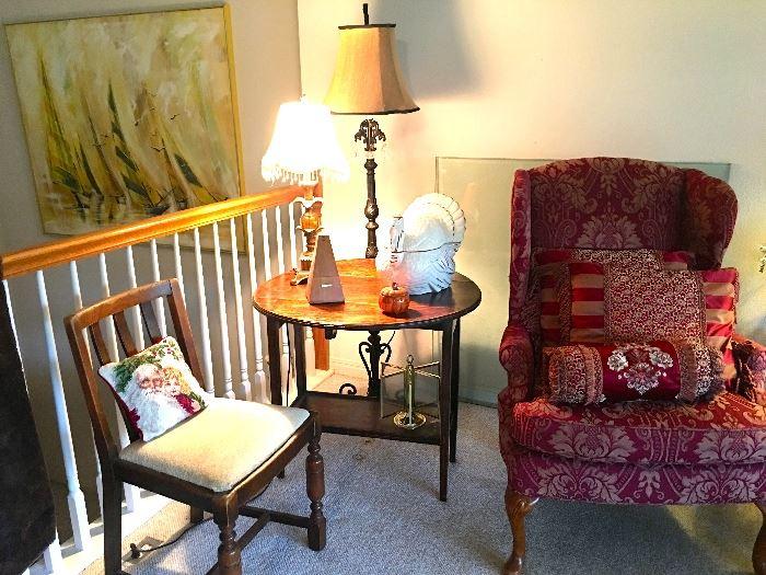 Wingback, vintage side table, lamps, turkey cookie jar.