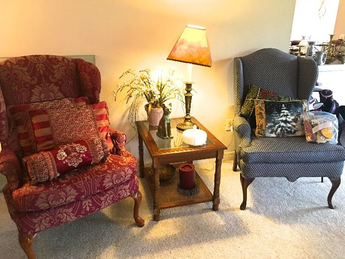 2 wingback chairs, side table, lamp, collectibles, vintage candy dish