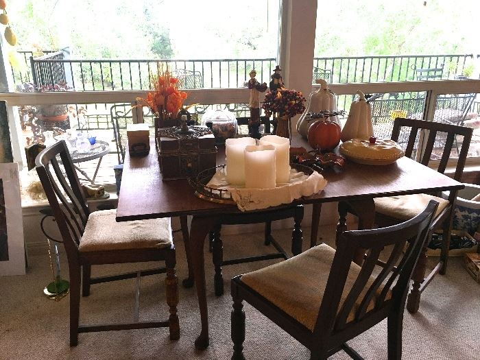 Antique table, 6 antique chairs, fall decor, candles