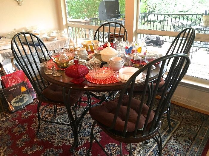 kitchen table and 4 chairs, like new, kitchen rug, vintage glassware