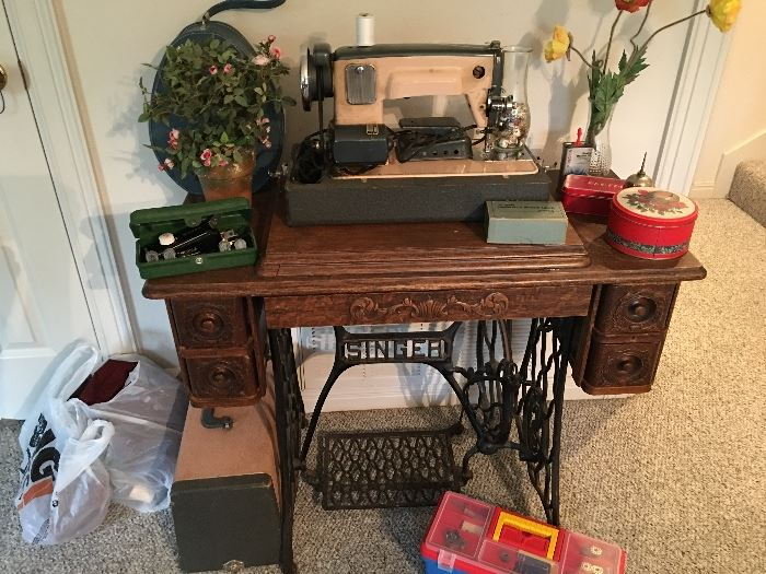 antique singer sewing machine table, vintage sewing machine, vintage sewing boxes and supplies
