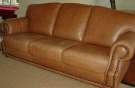 Leather Sofa with Brass Tack Detail