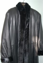 Mink Lined Black Leather Coat, Size Small