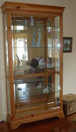 Tall Glass and Pine Display Cabinet