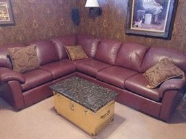 Arizona leather sectional in the den