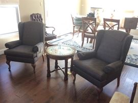 Wing Chairs & Round End Tables