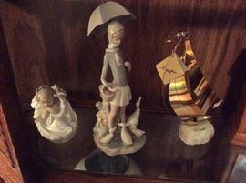 LLadro Figurines & Brass sailboat