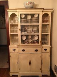 Vintage white china cabinet.