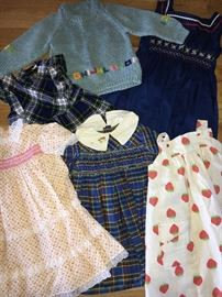 Assorted vintage (1970s) girls clothing.