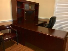 L-shape home office desk with hutch.