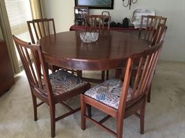 Mid century Dining room set table and 6 chairs with a leafs $800