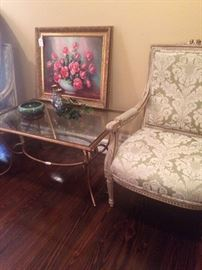 Elegant matching French Provincial chairs; glass top table; original oil