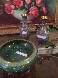 Cloisonne bowl & vases