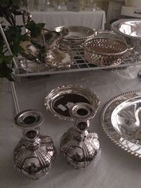 Lovely silver plate candle holders and other serving pieces