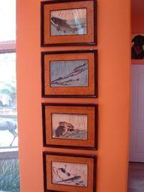 Wood block prints of fish