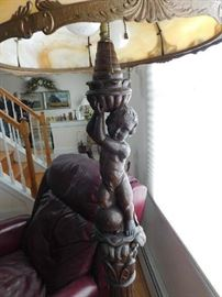 Mahogany carved standing lamp