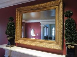GOLD GILT WALL MIRROR WITH GREEK ANTHEMION DECORATED SHALLOW FRAME