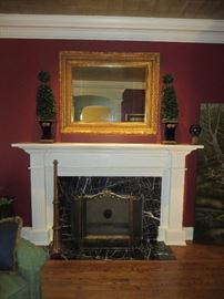GOLD GILT WALL MIRROR WITH GREEK ANTHEMION DECORATED SHALLOW FRAME  BOXWOOD TOPIARIES (PAIR)