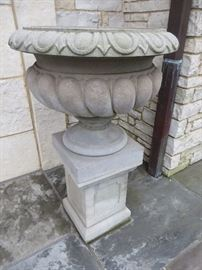 LARGE STONE URN ON PEDESTAL MADE IN ENGLAND
