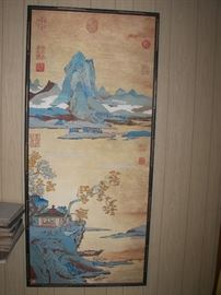 """Pictorial Rendering of the Spirit of the Verse. """"Autumn Mountain"""".  Silk Tapestry by Shen Txu-Fan, Sung Dynasty   (960-1279). Reproduced by Albert Lane, for National Air & Space Museum 1976.  Due to interest in this piece we are accepting bids starting at $5000.00.  Bids will end 12/10/16.  You may submit you bid by email through the messager on estatesales.net or by phone to number listed for this sale."""