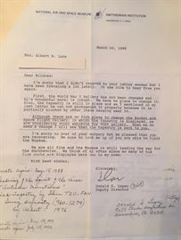 Letter from National Air and Space Museum regarding return of Art to wife of artist.