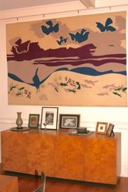 Contemporary Burl Sideboard and Large Art