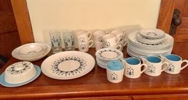 Stetson Swiss Alpine or Chalet dishes with covered butter dish and ashtrays