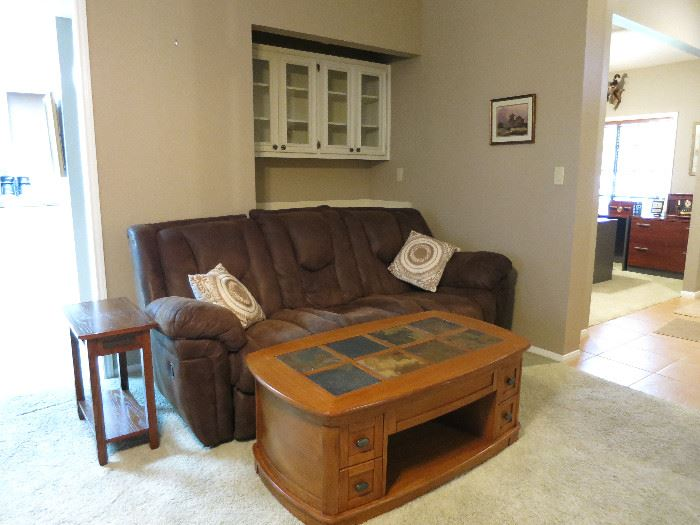 Reclining Sofa, Slate Lift Top Table, Accent Table