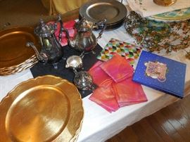 Gold Chargers (Some SOLD), Frilly Napkins, Silver Plate Coffee Set