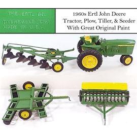 Toys Ertl John Deere Tractor Tiller Plow Seeder