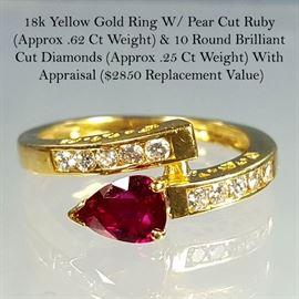 Jewelry Gold Pear Cut Ruby Round Diamonds Ring lg