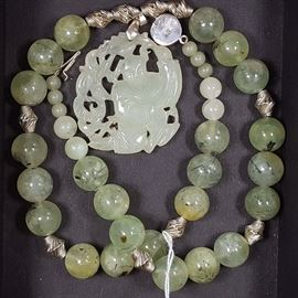 Jewelry Jade Buddha Disciple Bead Necklace aa