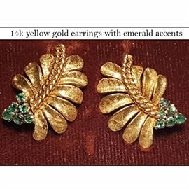 Jewelry Gold Leaf Form Earrrings Emerald Accents