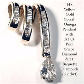 jewelry Gold Pear Shape Diamond Pendant