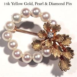 Jewelry Gold Pearl Circle Pin Diamond Accent