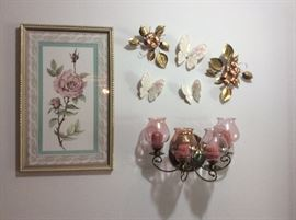 Home Interior grouping - butterfly's, metal dogwood flower & leaves, and metal sconce with candle holders, rose picture
