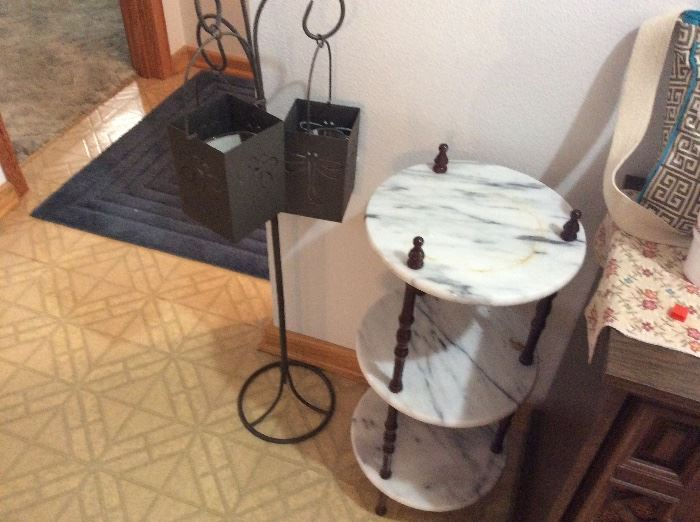 small shelf unit and triple candle holder