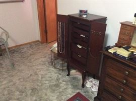 Jewelry chest & small stool