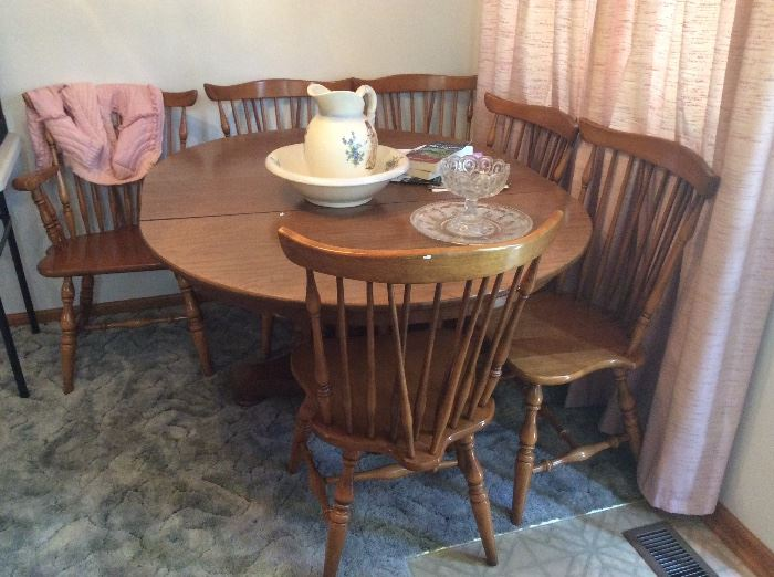 6 piece oak dining table & chairs