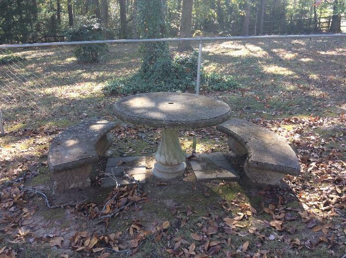 Concrete table & benches