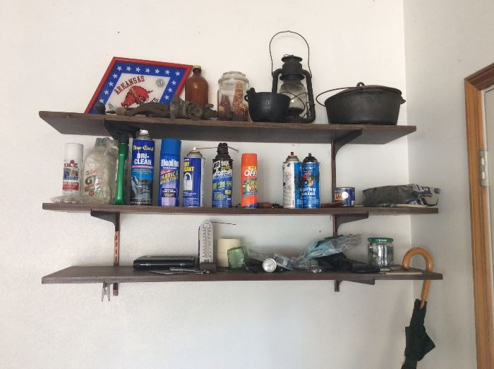 Cast iron, old lamp other miscellaneous in garage