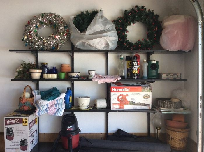Door wreath & much more in garage - have added a lot of Christmas items