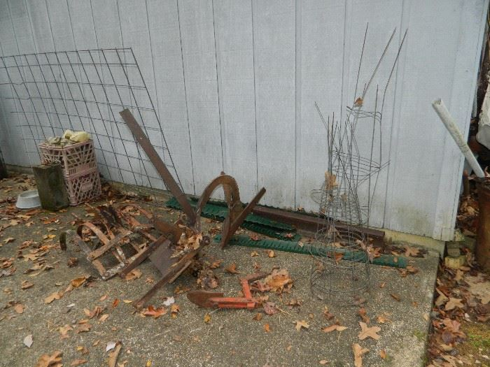 old milk crates, metal items, tomato cages