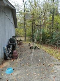 Barn area - windmill, posts, flower pots, etc.