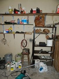 old stool, buckets, cleaners, etc.