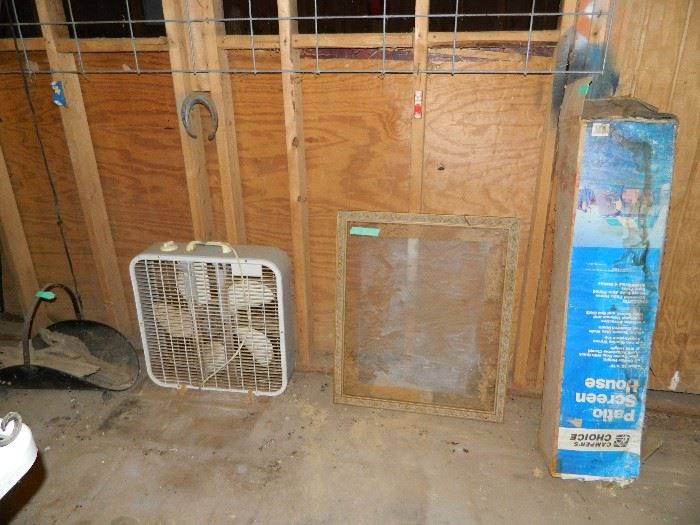fan, window, screen house, wood holder