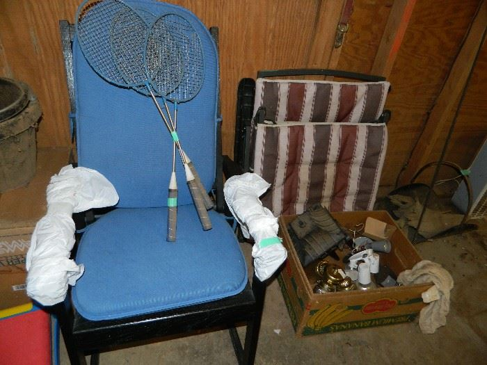 Chair, box of misc, chair cusions,