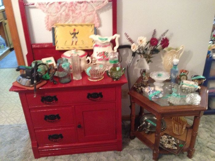 Vintage washstand & more glass items