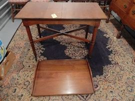 Stickley Fayetteville Syracuse Tea Cart on Casters, Removal Handled Tray, Patent # 2,628,143