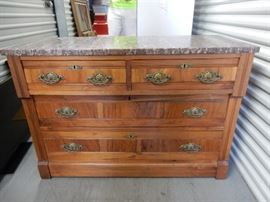 "Antique Marble Top Chest with 4 Drawers, 29""x42""x18"""
